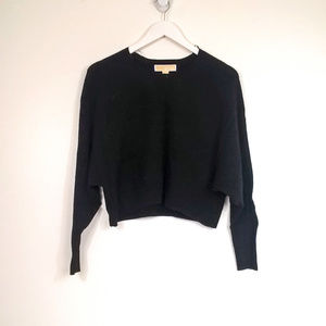 MMK Cashmere Bat Wing Cropped Crew Neck Sweater